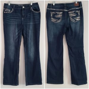 Maurices Fancy Butt Bootcut Jean's Size 11/12 H24